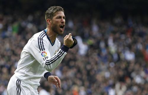 DOCU_GRUPO Real Madrid's Ramos celebrates after scoring a goal during their Spanish first division in Madrid
