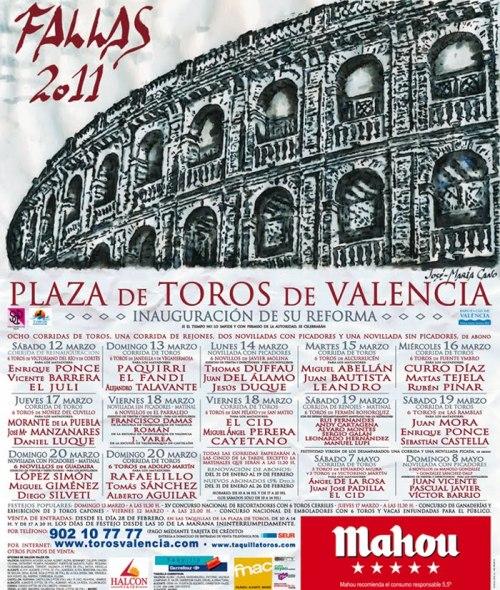 PLAZA DE TOROS DE VALENCIA CARTEL FALLAS 2011