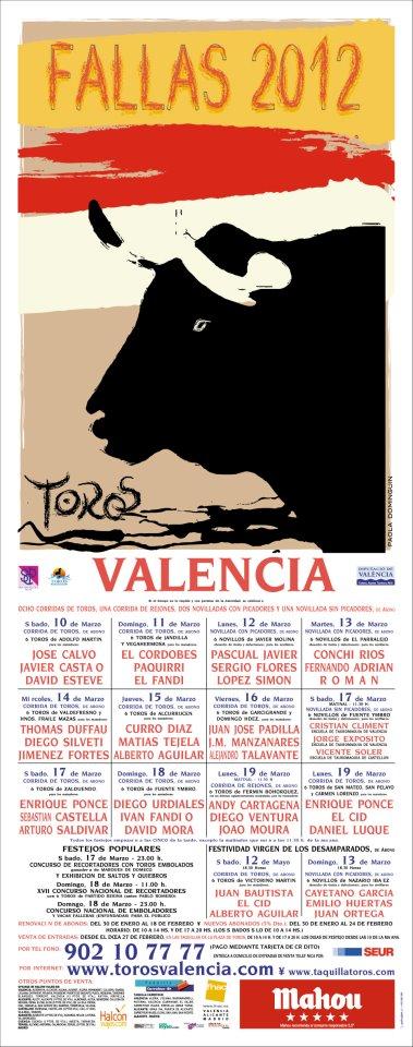 PLAZA DE TOROS DE VALENCIA CARTEL DE FALLAS 2012