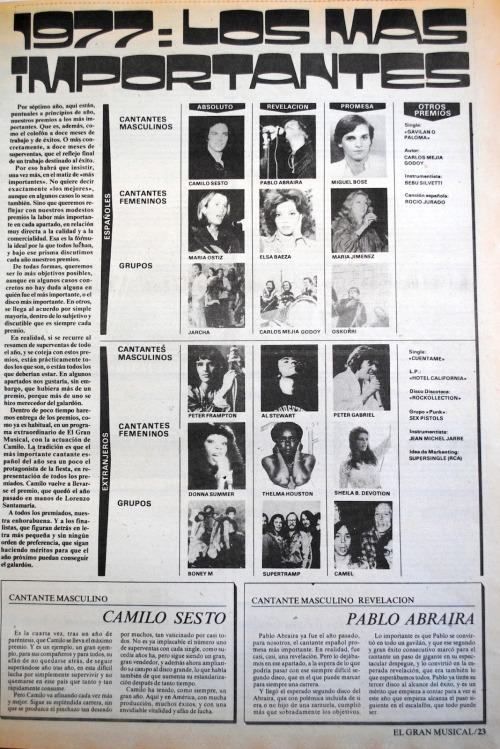 Resumen del año 1977 revista El Gran Musical