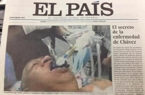 PORTADA DE EL PAIS CON FOTO DE CHAVEZ ENTUBADO