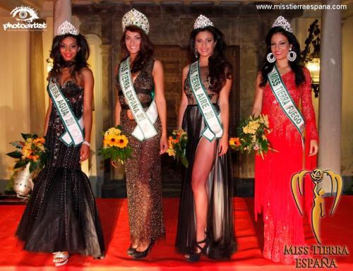 Miss Tierra España: Comunidad Valenciana: Cristina Martinez, Miss Tierra Aire: Costa de la Luz : Nilufar Rodriguez, Miss Tierra Agua: Galicia : Patricia Fernandez y Miss Tierra Fuego: Malaga: Mª Isabel Martin.