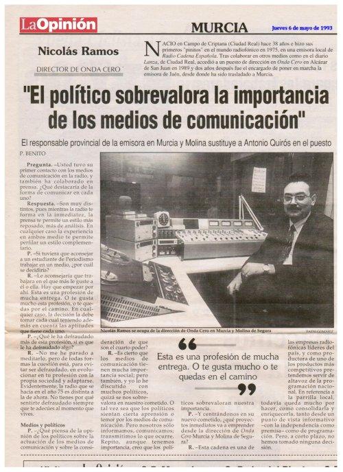 Entrevista a Nicolás Ramos Pintado en La Opinión de Murcia