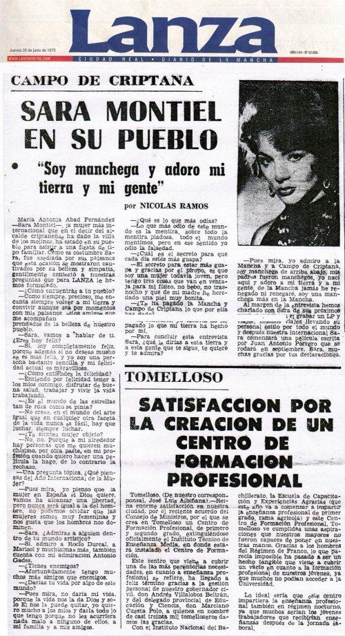 Entrevista a Sara Montiel, Diario Lanza de Ciudad Real. Junio de 1975