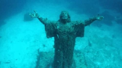 Cristo del Abismo. San Fruttuoso, Italia..