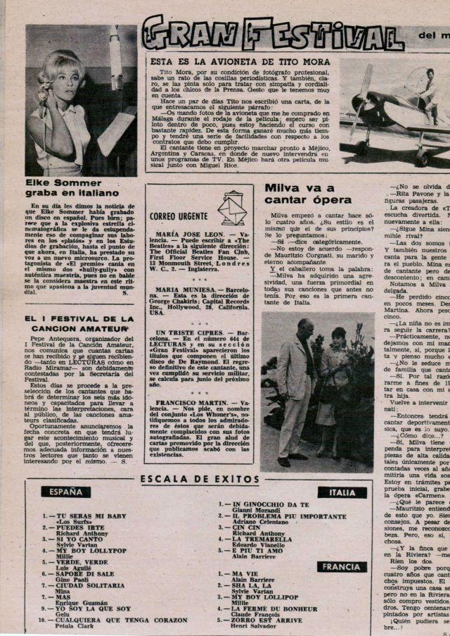 LES SURFS TU SERAS MI BABY NUMERO UNO ESPAÑA 1964 REVISTA LECTURAS