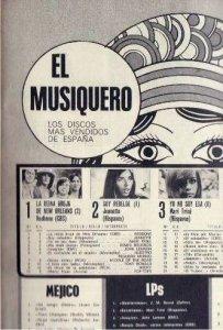 redbone nº 1 de ventas en España 1971 El Musiquero revista Mundo Joven