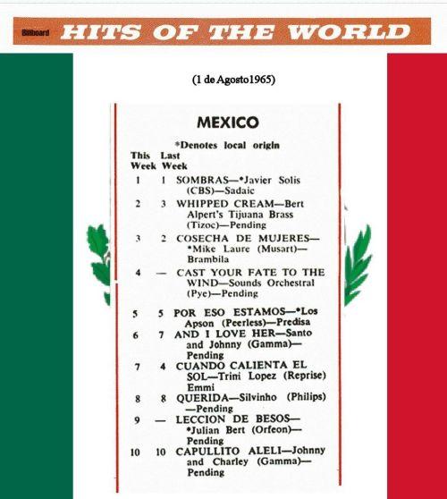 lista de exitos musicales mexico 1965-agosto
