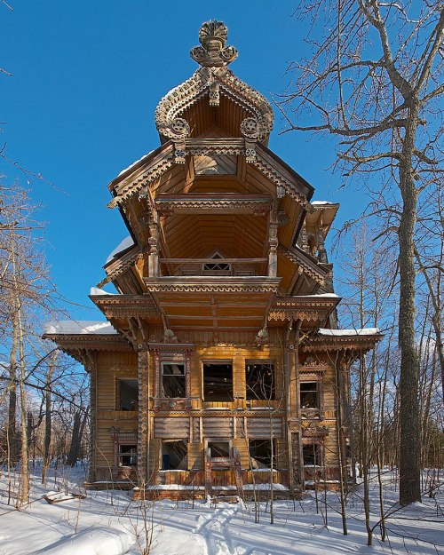 lugares terrorificos Abandoned Wooden Houses, Russia
