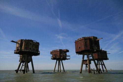 lugares terrorificos Los Fuertes del Mar de Maunsell, England