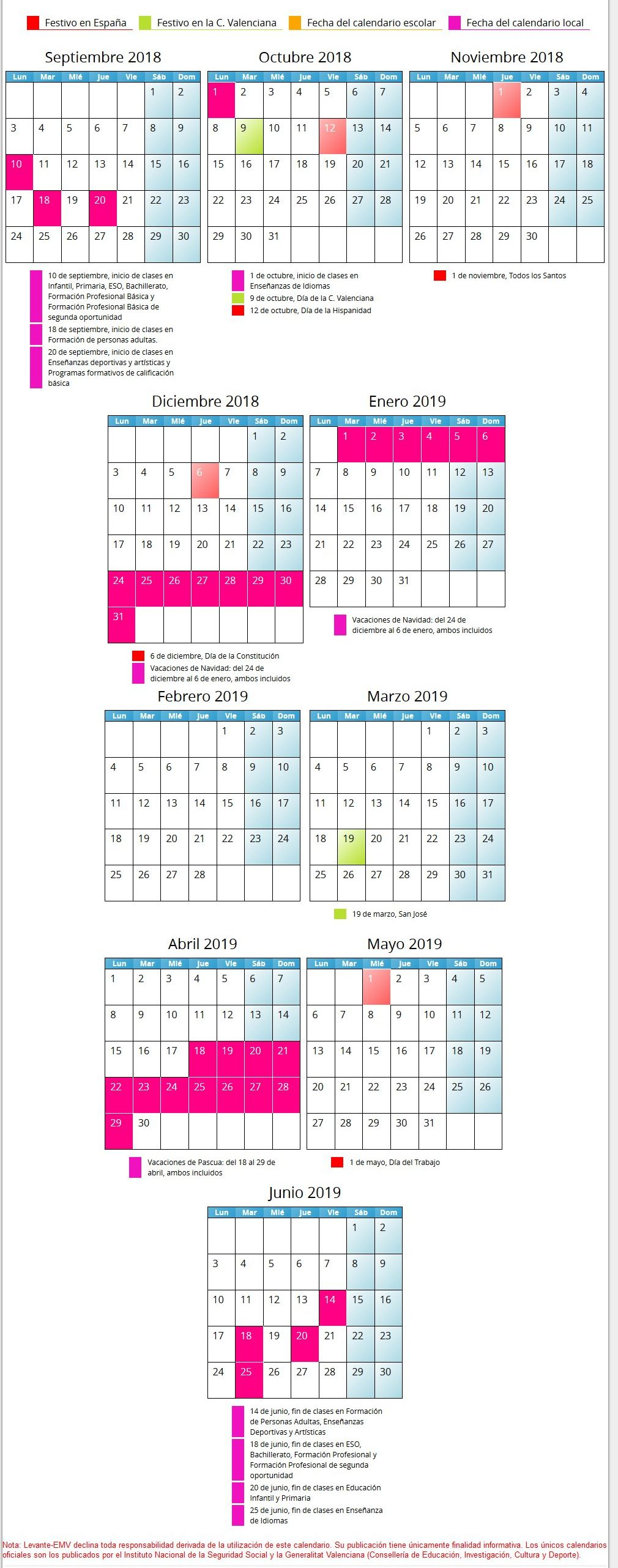 Calendario Valencia 2019.Calendario Escolar De La Comunidad Valenciana 2018 2019 Valencia